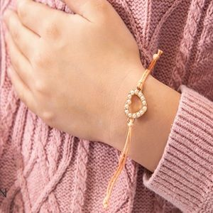 ▪️Plunder Janelle Peach Heart Cord Bracelet New